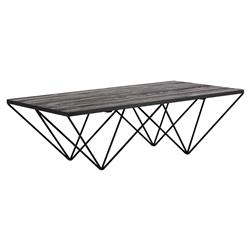 Bosco Industrial Lodge Black Brown Rectangular Iron Spider Leg Coffee Table