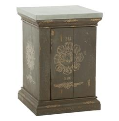 French Country Medallion Side Table with Tin Top | AG-F2