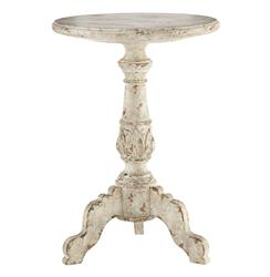 Vintage French Country French White Acanthus Leaf Side Table | AG-F52