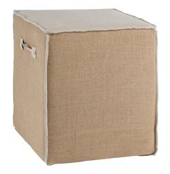 French Country Burlap Linen Accent Cube Ottoman | AG-F95