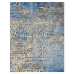Exquisite Rugs Koda Modern Classic Abstract Blue Grey Bamboo Silk Rug - 8' x 10'