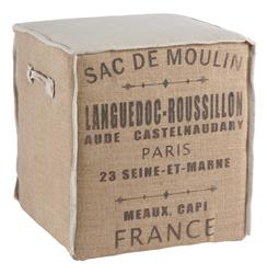 French Country Burlap Sac de Moulin Accent Cube Ottoman | AG-F95SDM