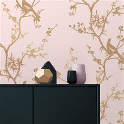 Gold Branches Modern Classic White Removable Wallpaper