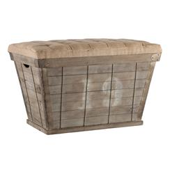 French Country White Lettering Long Storage Crate Burlap Ottoman