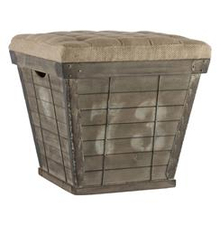 French Country Cube Storage Crate with Burlap Cushion Ottoman