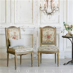 Eloquence French Country Style Vintage Side Chairs: 1880