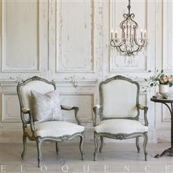 Eloquence French Country Style Pair of Antique Armchairs: 1890