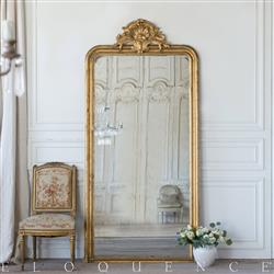 Eloquence French Country Style Antique Floor Mirror: 1870