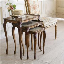 Eloquence French Country Style Vintage Nesting Tables: 1930