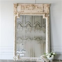 Eloquence French Country Style Antique Trumeau Mirror: 1850