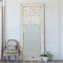 Eloquence French Country Style Antique Trumeau Mirror: 1890