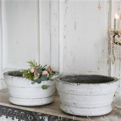 Eloquence French Country Style Pair of Antique Concrete Urns: 1900
