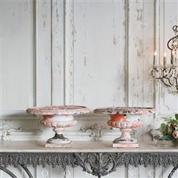 Eloquence French Country Style Pair of Antique Iron Urns: 1900