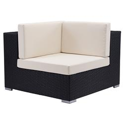 Chloe Modern Classic Upholstered Galvanized Aluminum Outdoor Sectional Corner