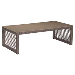 Charleene Modern Classic Tempered Glass Top Outdoor Coffee Table