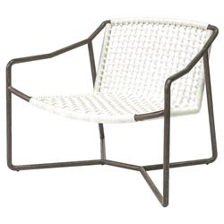 Palecek Dockside Modern Coastal Metal Hand Woven Rope Outdoor Lounge Chair