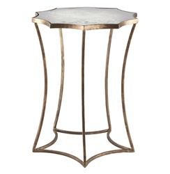 Astre Antique Gold Leaf Star Shaped Mirrored Side End Table