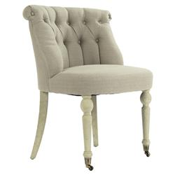 Alize French Country Tufted Beige Linen Scroll Back Ivory Oak Slipper Chair