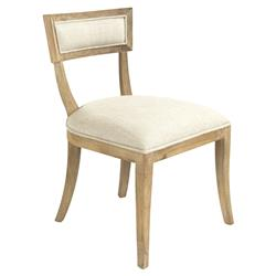 Bavette French Country Cream Linen Limed Oak Side Chair