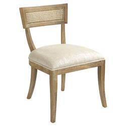 Bavette French Country Cream Linen Limed Oak Cane Back Side Chair