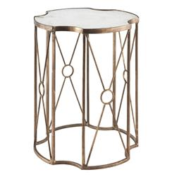 Marlene Hollywood Regency Gold Leaf Antique Mirror Side End Table - Short | AG-F190