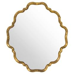 Ellison Hollywood Regency Scalloped Gold Wall Mirror