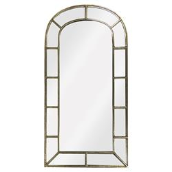 Frederick French Country Arched Windowframe Antique Silver Iron Wall Mirror