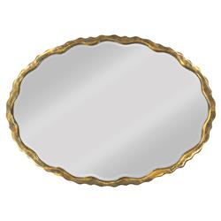 Grable Hollywood Regency Scalloped Gold Oval Wall Mirror