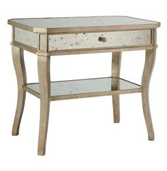 Antique Mirror Aged Pewter Side Bedside End Table | AG-F155