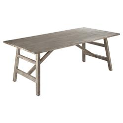 Philippe French Country Cerused Oak Rectangular Trestle Dining Table