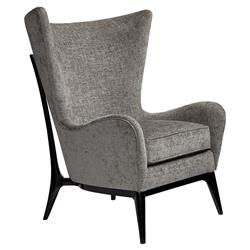 Caracole WhatS New Pussycat? Mid Century Grey Wing Back Black Wood Arm Chair