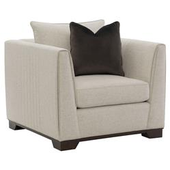 Goode Modern Classic Beige Linen Look Feather Down Pillow Back Arm Chair