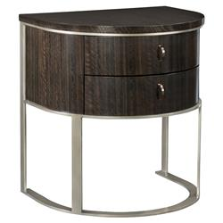 Goode Modern Classic Dark Wood Bronze 2 Drawer Demilune Nightstand