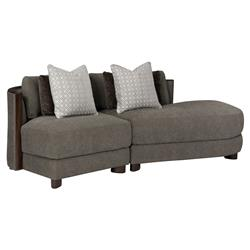 Jaron Modern Classic Slub Knit Curved 2 Piece Sectional - Right Arm Facing