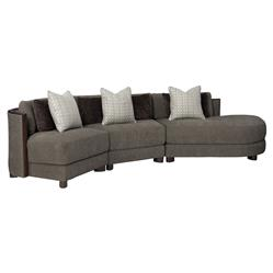 Jaron Modern Classic Slub Knit Curved 3 Piece Sectional - Right Arm Facing