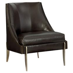 Keene Modern Classic Espresso Brown Leather Bronze Accent Arm Chair