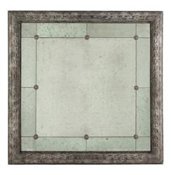 "French Country Antique Gray Bilzen Large 48"" Square Rosette Mirror 