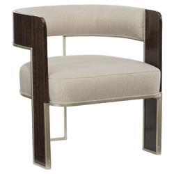 Lorimer Modern Classic Beige Upholstered Bronze Wood Open Barrel Back Chair
