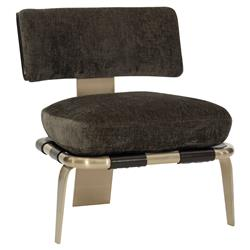Marielle Modern Classic Brown Chenille Cushioned Gold Klismos Accent Chair