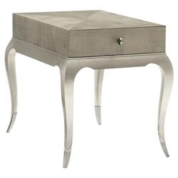 Miranda Modern Classic Silver Leaf Single Drawer Rectangular Side End Table