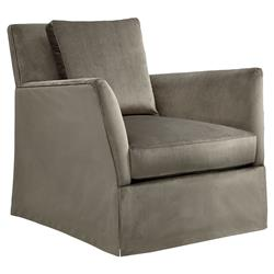 Ryla Modern Classic Taupe Skirted Swivel Arm Chair