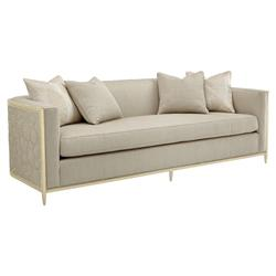 Shatter Modern Classic Beige Upholstered Gold Metal Wrapped Bench Cushion  Sofa