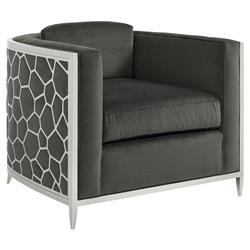 Caracole Ice Breaker Modern Charcoal Upholstered Silver Metal Wrapped Accent Club Chair