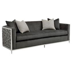 Shatter Modern Classic Upholstered Silver Metal Wrapped Bench Cushion Sofa