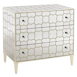 Desiree Modern Classic Cream Painted Mirrored 3 Drawer Dresser