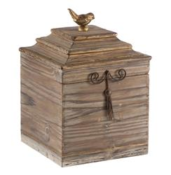 Pair Voler Natural Rustic Tall Wood Box with Gold Accent Bird | AG-D208
