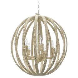 Palecek Madera Coastal Beach White Coco Beaded Round Chandelier