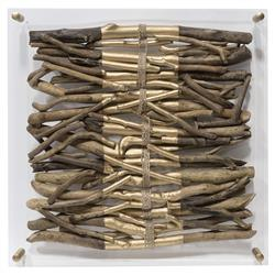Palecek Acrylic Coastal Driftwood Gold Striped Square Wall Sculpture