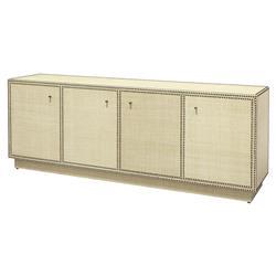 Palecek Benton Modern Classic Hand Applied Raffia 4 Door Sideboard