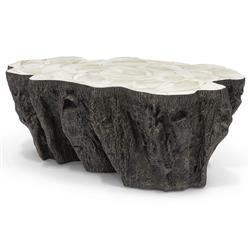 Palecek Chloe Inlaid Fossilized Clam Shell Top Natural Tree Trunk Oval Coffee Table